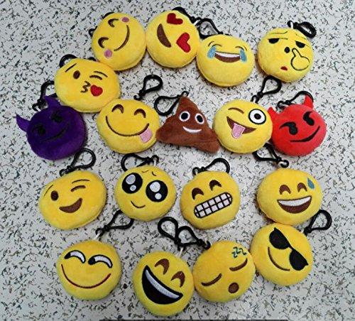 New 20 style Emoji toys for Kids Emoji Plush Keychains Mixed Emoji Keyrings B by USFEEL