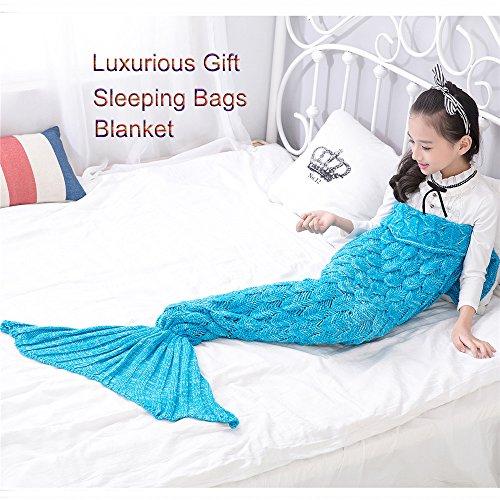 Awkli Kids Mermaid Tail Blanket Knitted Crochet Fish-Scale Pattern Mermaid Sleeping Bag Quilt Christmas Gift for Child 59x29 Kids-Sky Blue