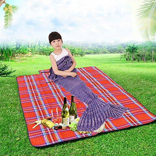 Feiuruhf Soft Mermaid Tail Blanket Handmade Living Room Sleeping Bag For Kids purple