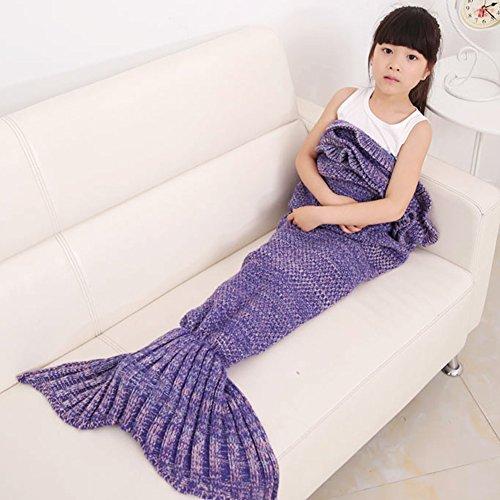 Girls Crochet Mermaid Tail Blanket Knitting Handcraft for Kids All Seasons Sleeping Bag Blanket551 x 276Purple