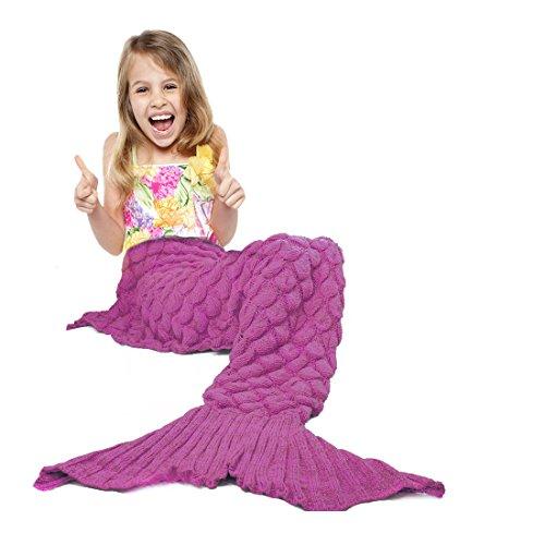 Handcrafted Crochet Knitting Mermaid Tail BlanketMermaid Blanket for Adult and Kids Fashion Super Soft All Seasons Sleeping Blankets