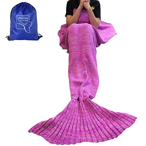 Heartybay Crochet Mermaid Tail Blanket for kids Super Soft All Seasons Sleeping Mermaid Blanket 56X28 - Pink