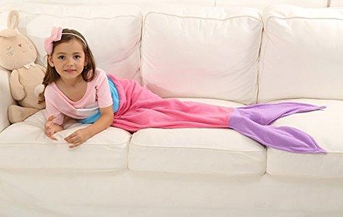 Ibestuff Luxury Mermaid Tail Blanket Soft Polar Fleece Children Sleeping Bags Gift for KidsPink