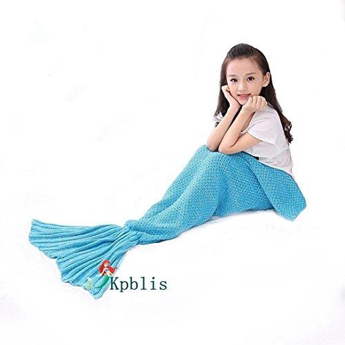 Kpblis Knitted Mermaid Tail 75-Inch-by-31-Inch Blanket Kids Blue