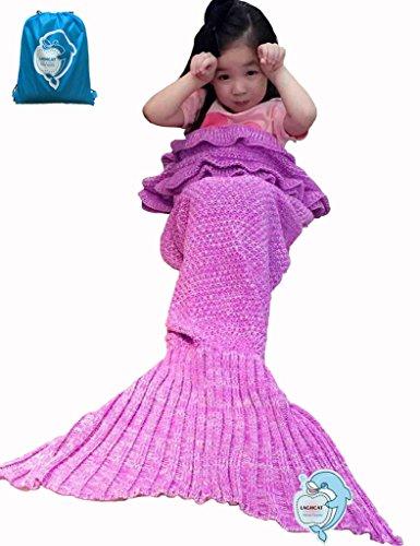 LAGHCAT Mermaid Tail Blanket with the Ruffles on Top Knit Crochet and Mermaid Blanket for KidsSleeping Blanket 56X28 Kids Light Pink