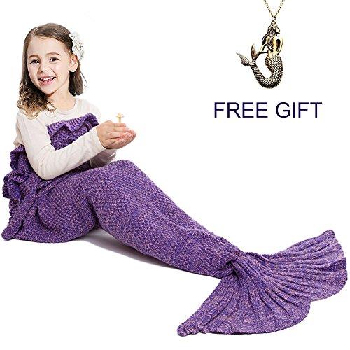 Mermaid Tail Blanket for Kids Hand Crochet Snuggle MermaidAll Seasons Seatail Sleeping Bag Blanket by JrWhite Kids-Purple