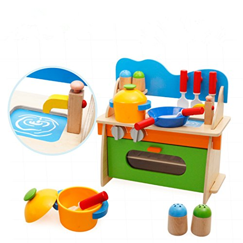 Joyeee Wooden Kitchen Set - Children Toddler Pretend Wood Playset Toys All-In-One Cooking Center for Child 3 Year and Up - Perfect Christmas Gift Idea