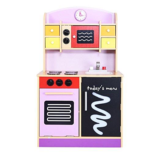 Kissemoji Kids Toddler Cooking Pretend Play Set Wood Kitchen Toy