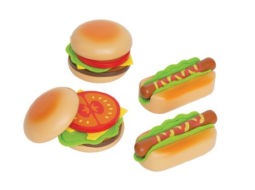 Hape - Playfully Delicious - Hamburger and Hot Dogs Wooden Play Food Set