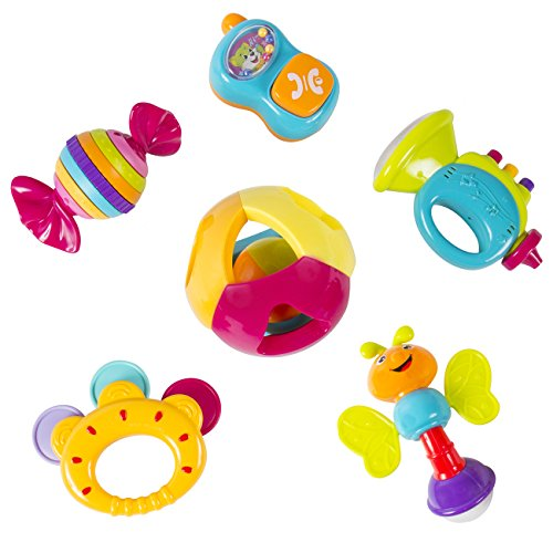 Best Choice Products Baby Rattle Toy Gift Set with Mirror 6 Pieces