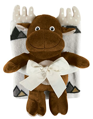 Stephan Baby Ultra-Soft Coral Fleece Crib Blanket and Plush Brown Moose Toy Gift Set