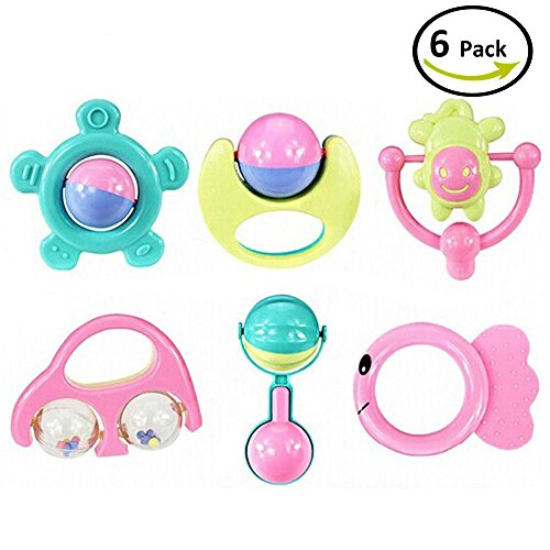 Kanee Cute Baby Developmental Rattle Toys Perfect Size For Babies Hands 6 Pieces