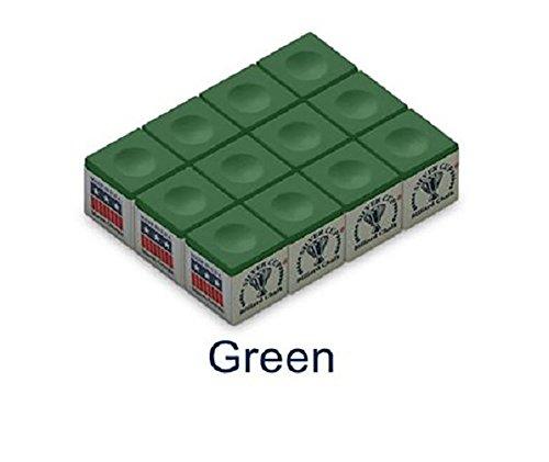 One Dozen Green Silver Cup Pool Cue Chalk