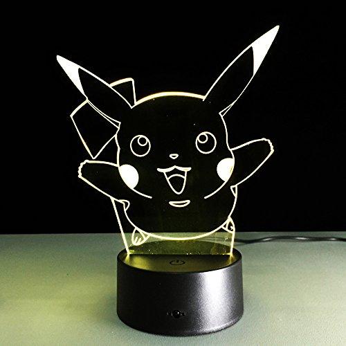AIBULBÂNEW Pokemon Go Pikachu 3D Night Light Action Figue LED Toy Lamp 7 Colorful Change Kids Gift Birthday Halloween Xmas Celebrity