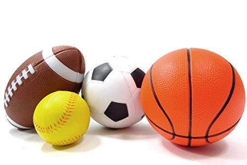 PowerTRCÂ Set of 4 Sports Balls for Kids Soccer Ball Basketball Football Baseball