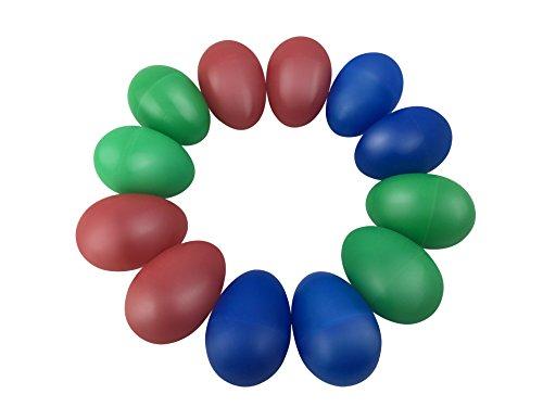 TSLIKANDOTM 12pcs Playful Plastic Percussion Musical Egg Maracas Egg Shakers Kids Toys- 3 Different Colors