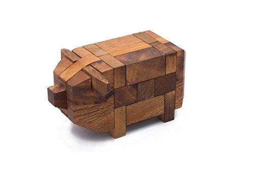SiamMandalayLittle Pig - Mechanical Brain teaser Puzzle for Adults Pig Themed Wood Interlocking Pig Kumiki Puzzle Handmade from Monkeypod Wood