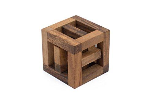 SiamMandalays Hoopla Cube - Wooden Interlocking Mechanical Puzzle