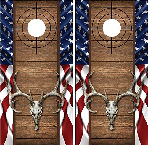 Buck Deer Skull American Flag Wood Cross Heirs LAMINATED Cornhole Board Decal Wrap Wraps