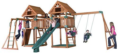 Backyard Discovery Kings Peak All Cedar Wood Playset Swing Set - Assembly Included