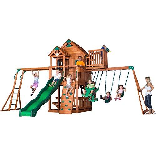 Backyard Discovery Skyfort II All Cedar Wood Swing Playset