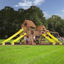 Backyard Odyssey Safari Cedar Swing Set Playhouse