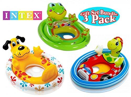 Intex See Me Sit Pool Rider Floats Frog Dog Racing Turtle Gift Set Bundle - 3 Pack