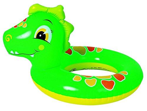 24 Green and Orange Dinosaur Childrens Inflatable Swimming Pool Inner Tube Ring