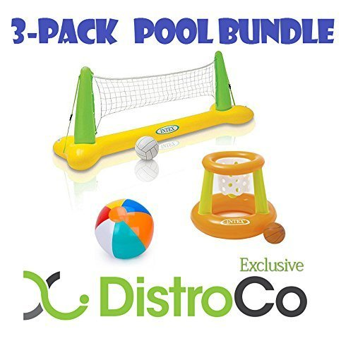 Intex Floating Hoops Basketball and Volleyball Game with added Beachball Bundle - Exclusive DistroCo Bundle - 3 Pack