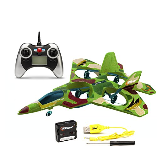 Top RaceF22 Fighter Jet 4 Channel Rc Remote Control Quad Copter RTF Green Camouflage