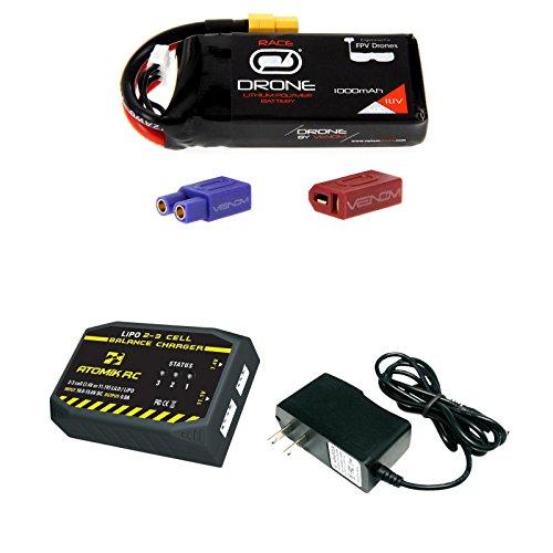 Venom 50C 3S 1000mAh 111V Drone Racing LiPo Battery with Universal 20 Plug and Atomik 2 to 3 Cell ACDC LiPo Balance Charger Money Saving Combo