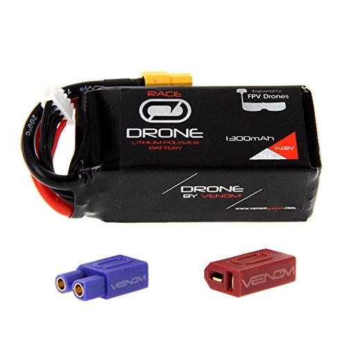 Venom 50C 4S 1300mAh 148V Drone Racing LiPo Battery with Universal 20 Plug XT60DeansEC3