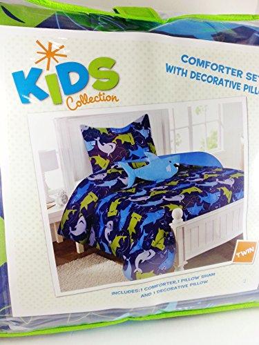 Kids Collection Boys Twin Size Comforter Set ~ Sharks Design