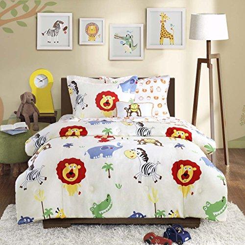 Kids Monkeys lions elephants Comforter set Kids Complete bedding with sheet set Kid Bed in a bag Twin size