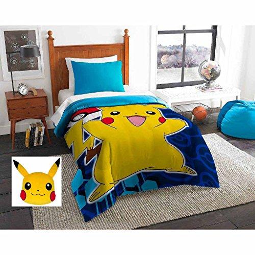 Pokemon Pika Pokeball Twin Size Comforter Sheet Set Pikachu Pillow - Bundle of 5 Items
