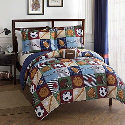 Team Sport Kids 3-Piece Twin Size Comforter Set in BlueTan Baseball Pattern Made of 100 Polyester
