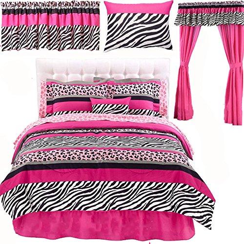 Teen Girls 9pc PINK BLACK SAFARI JUNGLE QUEEN Zebra Leopard TWIN SIZE Comforter Sham Bedskirt Sheet Set  ONE TOSS PILLOW ONE WINDOW VALANCE 1- 4pc DRAPERY SET