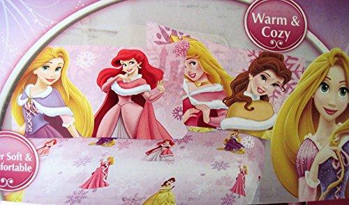 Disney Princess Snowflake Wonder Micro Mink 2 Piece Fitted Sheet and Pillowcase Set