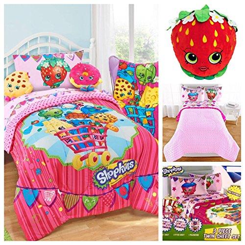 Shopkins Kids 5 Piece Bed in a Bag Twin Bedding Set - Reversible Comforter Microfiber Sheets Set Strawberry Kiss Pillow