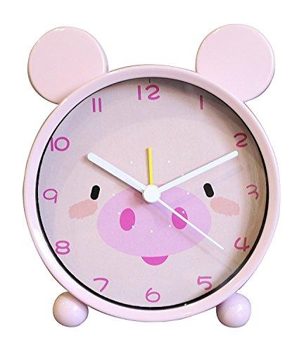 1 Kid alarm clock Kid analog clock Alarm clock children Kids Alarm Clock Girls alarm clock Animal alarm clock Mental Frame Silent Pig Pink