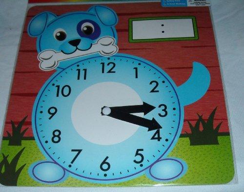 Art Skills - Learning Clock - Blue Dog with Bone - Analog Clock - Learn Analog and Digital