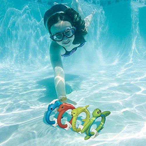 Set of 4 Aqua Fun Animal Rings Multi-colored Swimming Pool Dive Rings 65