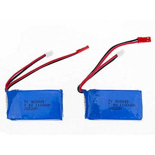 CreaTion 2pcs 74V 1100mAh Li-Po Helicopter Battery for WLtoys A949 A959 A969 A979 V912 V913 L959 T23 T55 F45 Spare Part Replacement