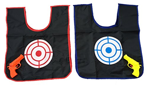 2 Player Childrens Toy Squirt Gun and Color Changing Target Vest Game - Kids Toys for Outdoors Water Park Lawn Garden Backyard - Alternative to Paintball Pirates Cops and Robbers by Perfect Life Ideas