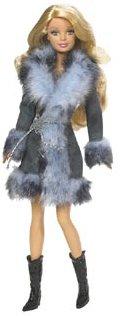Barbie Fashion Fever Doll Blue-Gray Fur Collar Coat
