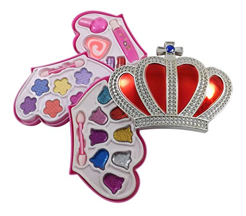Petite Girls Royal Crown Shaped Cosmetics Play Set - Fashion Makeup Kit for Kids