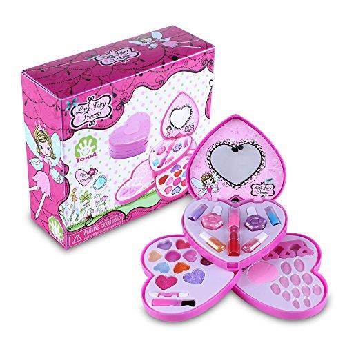 Tokia Kids Makeup Set for Toddler Girls The Princess Makeup Set with Brushes