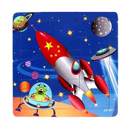 Jigsaw Puzzles Set RIUDA Spacecraft Wooden Kids 16 Piece Jigsaw Toys Education