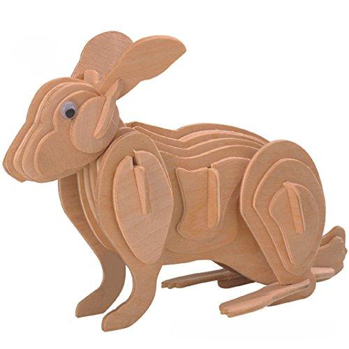Smilelove 3D Wooden Puzzle Rabbit Jigsaw Puzzle Animal Educational Building Blocks Puzzle Toy