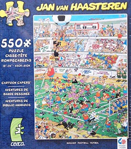 CARTOON CAPERS by JAN VAN HAASTEREN Art SOCCER FOOTBALL FUTBOL 550 Piece JIGSAW Puzzle
